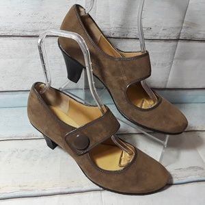 Sofftspots Brown Suede Mary Jane Heeled Shoe 12 W